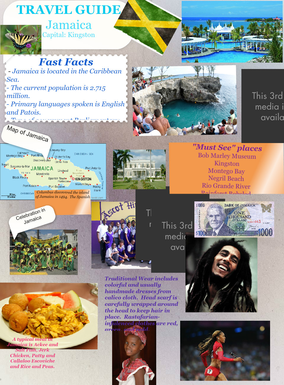 Natalie's Jamaica Project: text, images, music, video | Glogster EDU