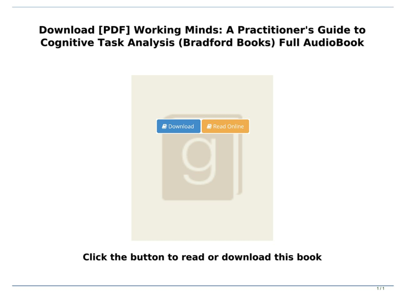 A Practitioners Guide to Cognitive Task Analysis Working Minds