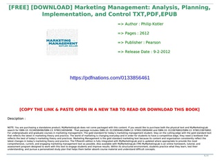 marketing management analysis planning implementation and control free download