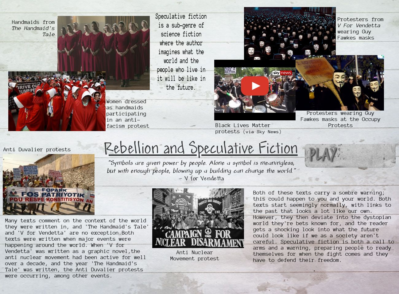 Rebellion and Speculative Fiction