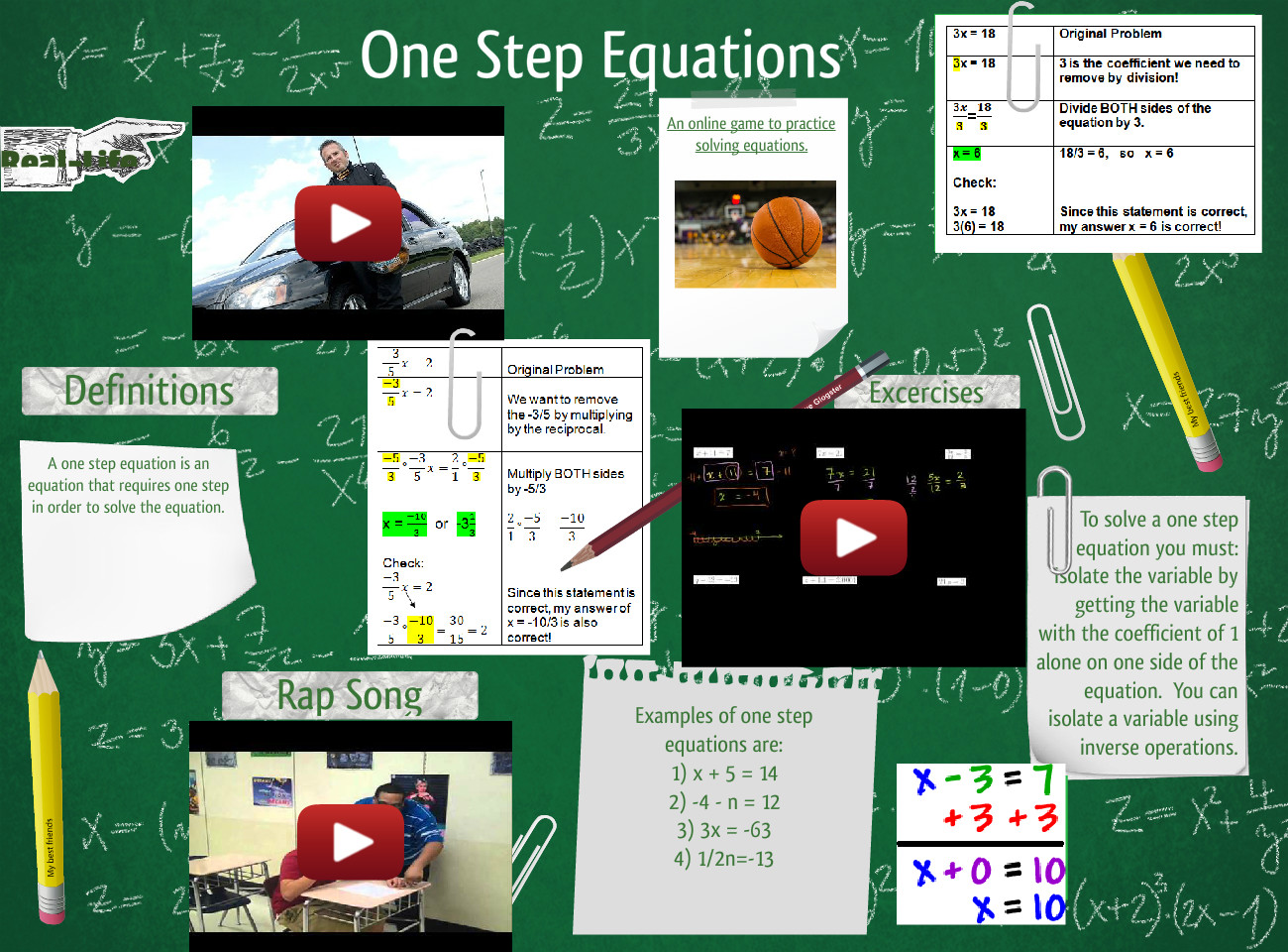 One Step Equations