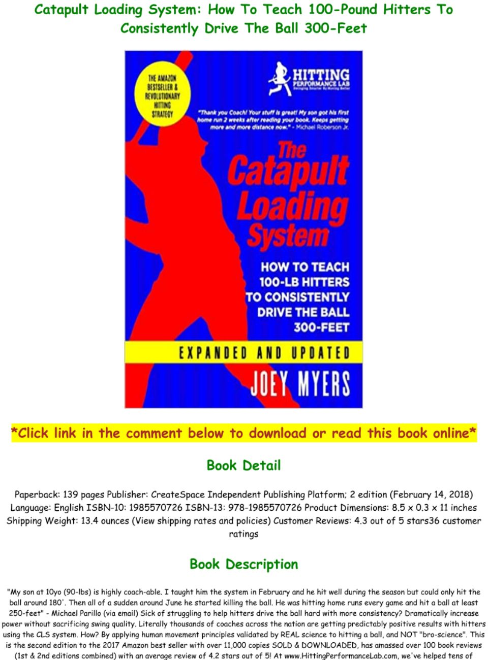 Catapult Loading System How To Teach 100-Pound Hitters To Consistently Drive The Ball 300-Feet